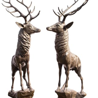 Magnificent Pair Life-Size Bronze Stags Deer Statues