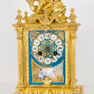 Antique French Sevres Porcelain Ormolu Clock c.1870