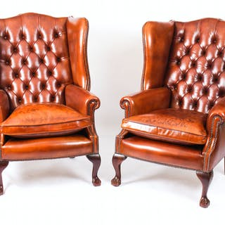 Bespoke Pair Leather Chippendale Wing Back Armchairs Chestnut