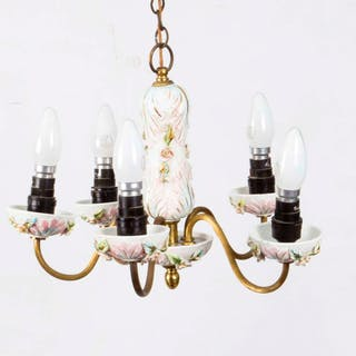 Vintage Porcelain & Brass 4 Light Chandelier