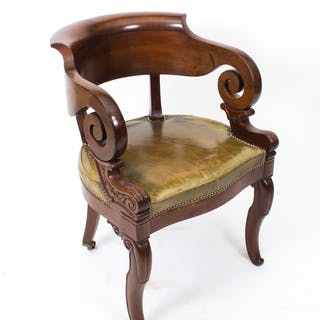 Antique Empire Mahogany Armchair Desk chair c.1820