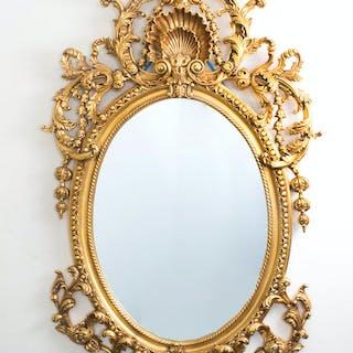 Italian Rococo Gilded Oval Mirror Giltwood 142 x 80 cm