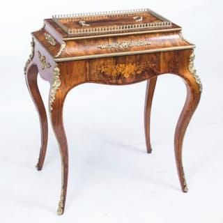 Antique French Louis Revival Burr Walnut Jardiniere c.1870