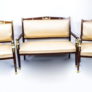 Antique French Empire Mahogany 3 Piece Salon Suite c.1900
