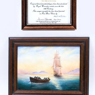 Vintage Worcester Framed Porcelain Seascape Plaque by D. Fuller
