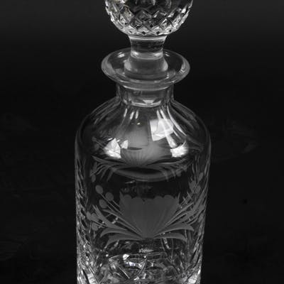 Vintage Cut Glass & Engraved Crystal Decanter 20th C