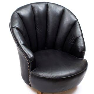 Antique Art Deco Black Leather Low Shell Armchair c.1930