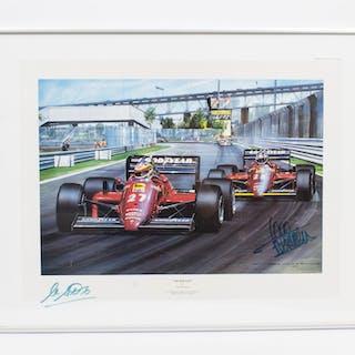 Vintage F1 Print signed by Alboretto & Rene Arnoux C1985
