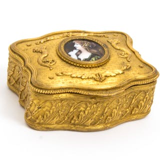 Antique Gilt Bronze Jewellery Casket & Limoges Miniature c.1870