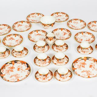 Antique Royal Crown Derby Porcelain Imari Pattern Tea Set C1906