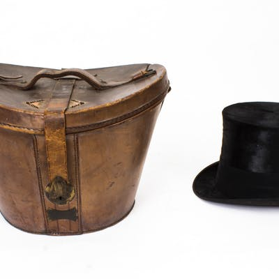 Antique Black Silk Top Hat in Leather Case W. MacQueen C1880