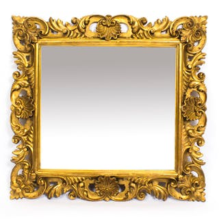 Antique Italian Florentine Giltwood Mirror 19th C 67x64cm