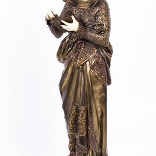 "Antique Albert Ernst Carrier-Belleuse ""La Liseuse"" gilt bronze figure"