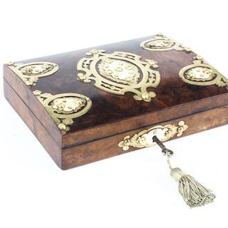 Antique Burr Walnut Casket With Ivorine and Brass Mounts 19th C