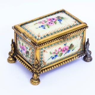 Antique Ormolu Mounted Limoges Enamel Jewel Casket Box c.1870