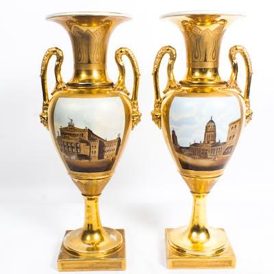 Antique Pair Continental Porcelain Double Handled Gilt Vases late19th C