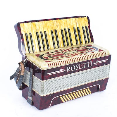 Vintage Rossetti red pearl finish accordion, 42cm wide