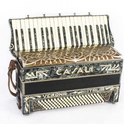 Vintage Italian Casali Italia piano accordion, with grey mother of pearl