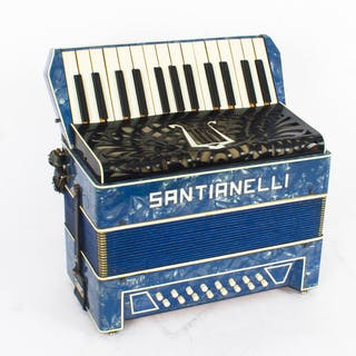 Vintage Santianelli accordion with a blue pearl finish, in a case.