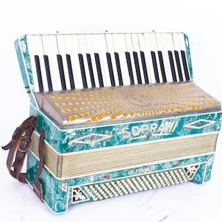 Vintage Sopranini III piano accordion with green pearl finish, 48cm wide