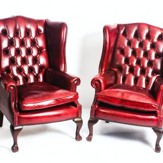 Bespoke Pair Leather Chippendale Wing Back Armchairs Crimson