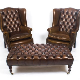 Bespoke Pair Leather Chippendale Wing Back Armchairs with stool / coffee table