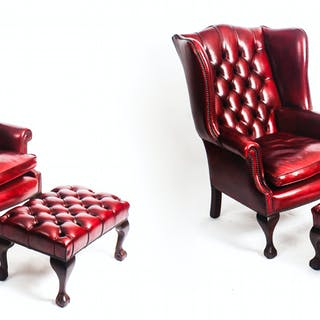 Bespoke Pair Leather Chippendale Wing Back Armchairs & Pair Stools Crimson
