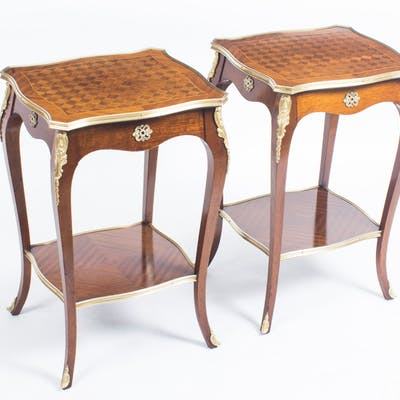 Antique Pair Parquetry & Ormolu Mounted Occasional Tables 19th C