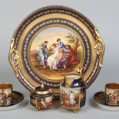 """Antique Vienna """"Cobalt blue"""" Cabaret Tray Breakfast Set 19thC"""