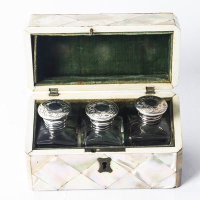 Antique Victorian Mother of Pearl Cased Scent Bottles 19th C