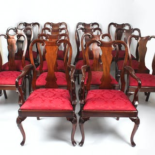 Vintage set of 14 Queen Anne Style Dining Chairs mid 20th C