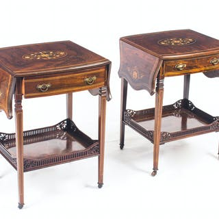 Antique Pair English Marquetry Inlaid Occasional Bedside Tables 19th C