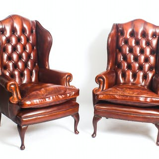 Bespoke Pair Leather Queen Anne Wing Back Armchairs Chestnut