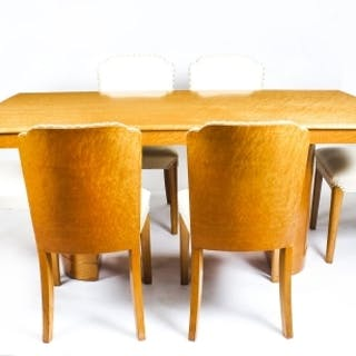 Antique Art Deco Birdseye Maple Dining Table 6 Chairs C1930