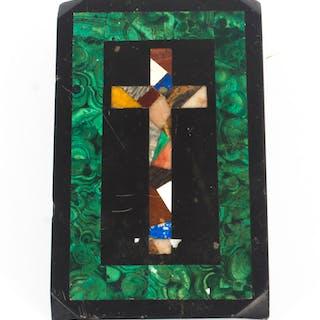 Antique Malachite & Marble Pietra Dura Paperweight 19th C