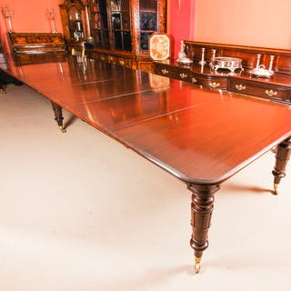 Antique 19ft William IV Mahogany Extending Dining Table C1830