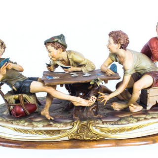 "Vintage Italian Capodimonte Porcelain ""The Card Cheats"" by Merli Late 20th C."