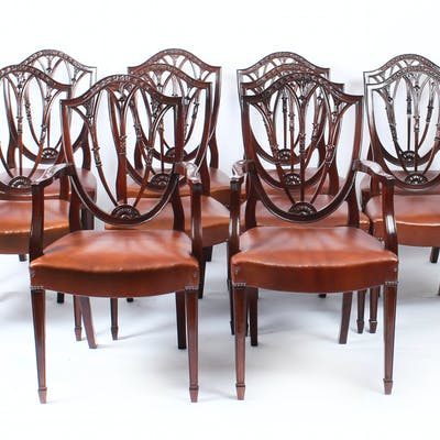 Antique Set 10 English Hepplewhite Shield Back Dining Chairs 19th C