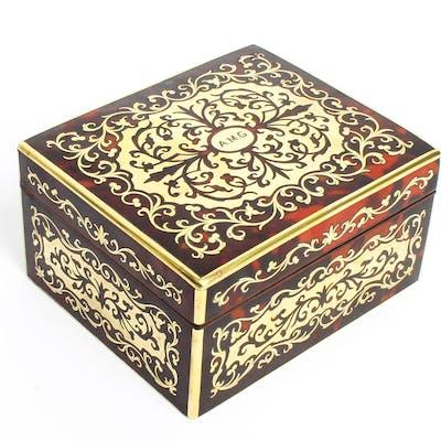 Antique Asprey Tortoiseshell & Brass Boulle Marquetry Box 19th C