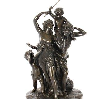 """Antique Bronze Sculpture """" The Triumph of Bacchus"""" signed Clodion 19th C"""