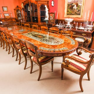 Bespoke 17ft Dining Table, Pewter, Lapis Lazuli & Agate Inlaid & 16 Chairs
