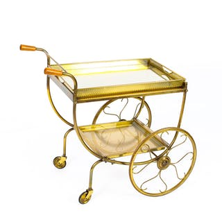 Antique French Modernist Gilded Drinks Serving Trolley Mid Century