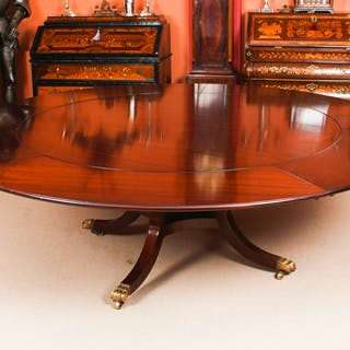 """Vintage 7ft 4"""" Diam Jupe Mahogany Dining Table by William Tillman 20th C"""