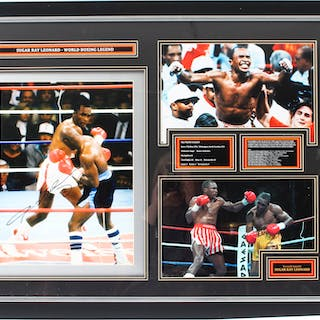 Magnificent Signed Autographed Framed Photo of Boxing Legend Sugar Ray Leonard