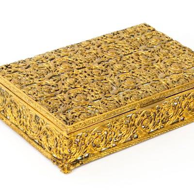 Antique French Ormolu and Mother of Pearl Casket c.1870 19th C