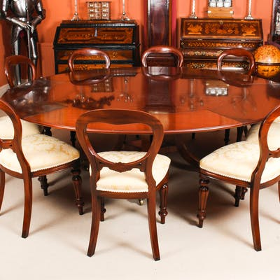 """Vintage 7ft 4"""" Diamete Tillman Jupe Dining Table 20thC & 10 dining Chairs"""