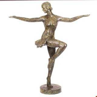 Vintage Art Deco Bronze Sculpture of Semi-Nude Dancing Lady Late 20th C