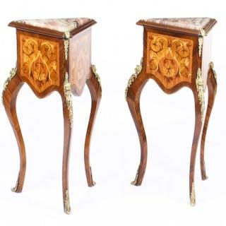 Vintage Pair Louis Revival Kingwood & Walnut Side Tables Pedestals 20th C