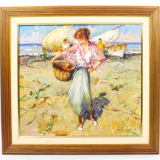 Vintage Spanish Oil on Canvas Titled Lady with Basket Dated 1990