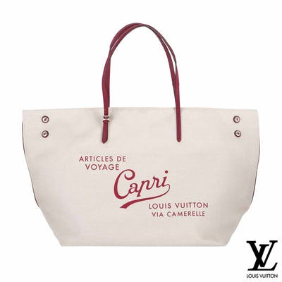 Louis Vuitton White Canvas Capri Articles De Voyage Cabas GM Bag